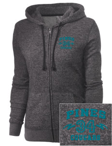 Pines Elementary School Cougars Embroidered Women's Marled Full-Zip Hooded Sweatshirt