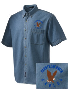Caruthers Union Elementary School Eagles  Embroidered Men's Denim Short Sleeve