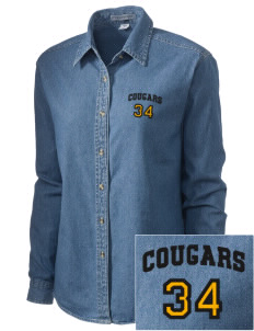 Dows Prairie Elementary School Cougars Embroidered Women's Denim Long Sleeve