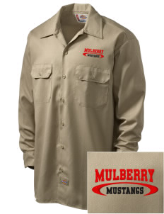 Mulberry Elementary School Mustangs Embroidered Dickies Men's Long-Sleeve Workshirt