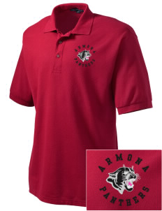 Armona Elementary School Panthers Embroidered Men's Silk Touch Polo