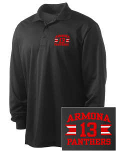 Armona Elementary School Panthers Embroidered Men's Long Sleeve Micropique Sport-Wick Sport Shirt