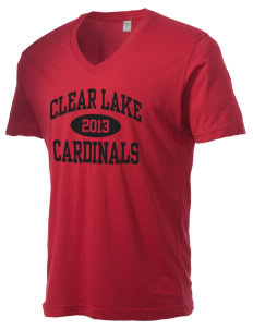 Clear Lake High School Cardinals Alternative Men's 3.7 oz Basic V-Neck T-Shirt
