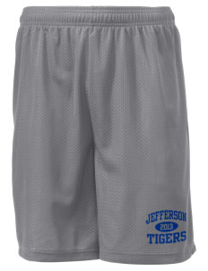 "Jefferson Elementary School Tigers Men's Mesh Shorts, 7-1/2"" Inseam"