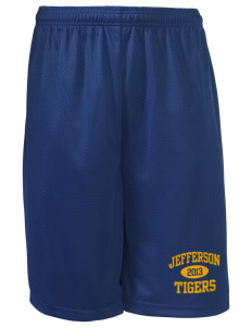 "Jefferson Elementary School Tigers Long Mesh Shorts, 9"" Inseam"