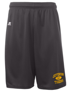 "Jefferson Elementary School Tigers  Russell Deluxe Mesh Shorts, 10"" Inseam"