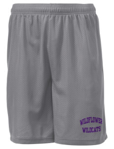 "Wildflower Elementary School Wildcats Men's Mesh Shorts, 7-1/2"" Inseam"