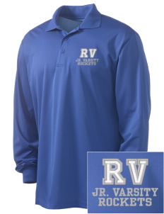 Rancho Vista Elementary School Rockets Embroidered Men's Long Sleeve Micropique Sport-Wick Sport Shirt