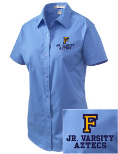Fries Elementary School Aztecs Embroidered Women's Easy Care Short Sleeve Shirt