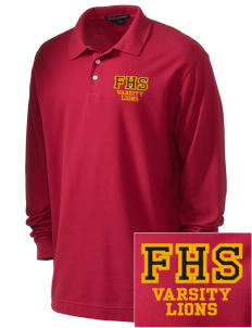 Fairfax High School Lions Embroidered Men's Pima Pique Long-Sleeve Polo