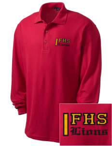Fairfax High School Lions Embroidered Men's Silk Touch Long-Sleeve Polo