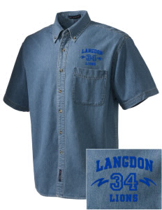 Langdon Elementary School Lions  Embroidered Men's Denim Short Sleeve