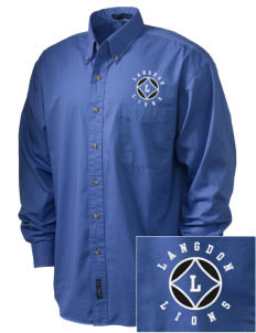 Langdon Elementary School Lions Embroidered Men's Twill Shirt
