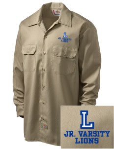 Langdon Elementary School Lions Embroidered Dickies Men's Long-Sleeve Workshirt