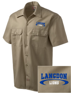 Langdon Elementary School Lions Embroidered Dickies Men's Short-Sleeve Workshirt