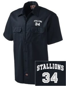 Stonehurst Elementary School Stallions Embroidered Dickies Men's Short-Sleeve Workshirt