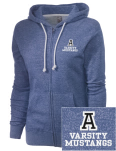 Andasol Elementary School Mustangs Embroidered Women's Marled Full-Zip Hooded Sweatshirt