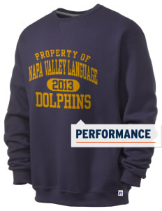 Napa Valley Language Center Dolphins  Russell Men's Dri-Power Crewneck Sweatshirt