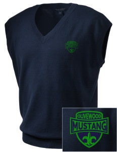 Olivewood Elementary School Mustang Embroidered Men's Fine-Gauge V-Neck Sweater Vest