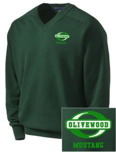 Olivewood Elementary School Mustang Embroidered Men's V-Neck Sweater