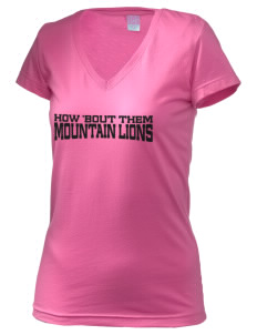 Idyllwild School Mountain Lions Juniors' Fine Jersey V-Neck Longer Length T-shirt