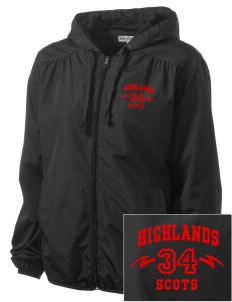 Highlands High School Scots Embroidered Women's Hooded Essential Jacket