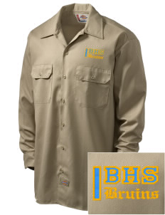 Bloomington High School Bruins Embroidered Dickies Men's Long-Sleeve Workshirt