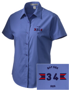 Bay Sox Sox Embroidered Women's Short Sleeve Easy Care, Soil Resistant Shirt