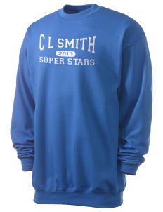 C L Smith Elementary School Super Stars Men's 7.8 oz Lightweight Crewneck Sweatshirt