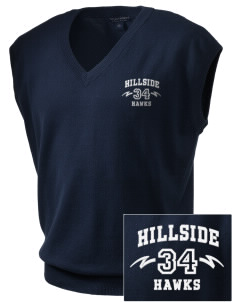 Hillside Elementary School Hawks Embroidered Men's Fine-Gauge V-Neck Sweater Vest