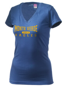 Monte Verde Elementary School Eagles Juniors' Fine Jersey V-Neck Longer Length T-shirt