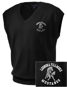 Leonora Fillmore Elementary School Mustangs Embroidered Men's Fine-Gauge V-Neck Sweater Vest