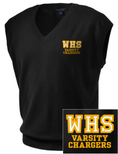 Wilcox High School Chargers Embroidered Men's Fine-Gauge V-Neck Sweater Vest