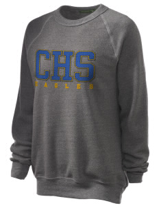 Central Continuation High School Eagles Unisex Alternative Eco-Fleece Raglan Sweatshirt with Distressed Applique