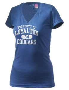 Loyalton Junior High School Cougars Juniors' Fine Jersey V-Neck Longer Length T-shirt
