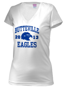 Butteville Union Elementary School Eagles Juniors' Fine Jersey V-Neck Longer Length T-shirt