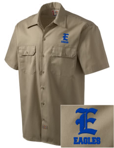 Fitch Mountain Primary School Eagles Embroidered Dickies Men's Short-Sleeve Workshirt