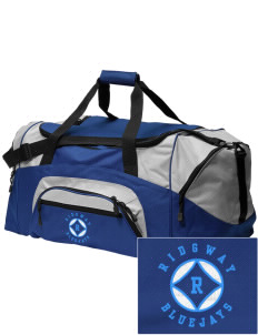 Ridgway School Bluejays Embroidered Colorblock Duffel Bag