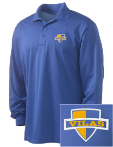 Vilas School Elementary Broncos - High School Raiders Embroidered Men's Long Sleeve Micropique Sport-Wick Sport Shirt