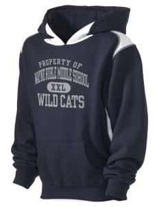 Wayne Ruble Middle Sdhool Wild Cats Kid's Pullover Hooded Sweatshirt with Contrast Color