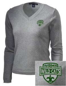 Wayne Ruble Middle Sdhool Wild Cats Embroidered Women's V-Neck Sweater