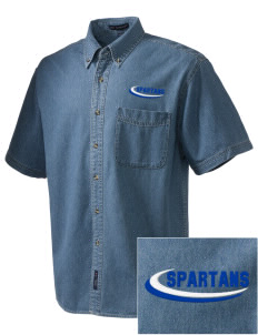 Frank Ward Strong Middle School Spartans  Embroidered Men's Denim Short Sleeve