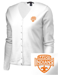 Savoy Elementary School Indians Embroidered Women's Stretch Cardigan Sweater