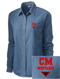 Crofton Meadows Elementary School Mustangs Embroidered Women's Denim Long Sleeve