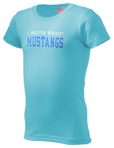 C Milton Wright High School Mustangs  Girl's Fine Jersey Longer Length T-Shirt