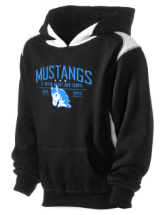 C Milton Wright High School Mustangs Kid's Pullover Hooded Sweatshirt with Contrast Color