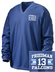 Friedman Middle School Falcons Embroidered Men's V-Neck Raglan Wind Shirt
