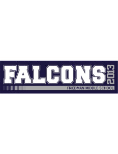 "Friedman Middle School Falcons Bumper Sticker 11"" x 3"""