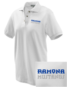 Ramona Elementary School Mustangs Embroidered Women's Pique Polo