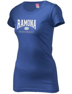 Ramona Elementary School Mustangs  Juniors' Fine Jersey Longer Length T-Shirt